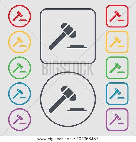 Judge Hammer Icon. Symbols On The Round And Square Buttons With Frame. Vector