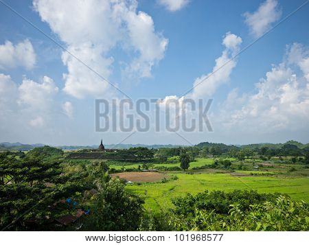 Landscape With Koe-thaung Temple In Myanmar