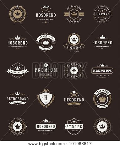 Retro Vintage Premium Quality Labels and Crowns set