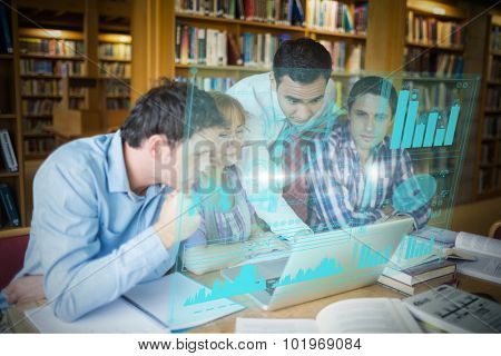 Digital representation of pie chart against mature students with teacher and laptop in library