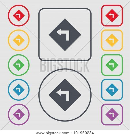 Road Sign Warning Of Dangerous Left Curve Icon Sign. Symbols On The Round And Square Buttons With Fr