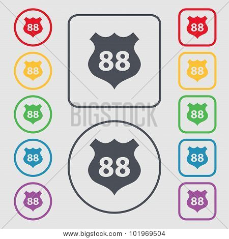 Route 88 Highway Icon Sign. Symbols On The Round And Square Buttons With Frame. Vector
