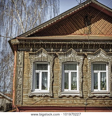 Traditional old house facade in Samara, Russia