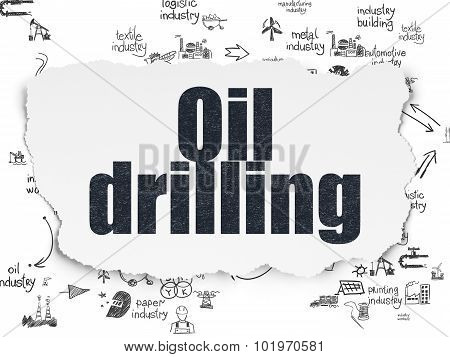Manufacuring concept: Oil Drilling on Torn Paper background