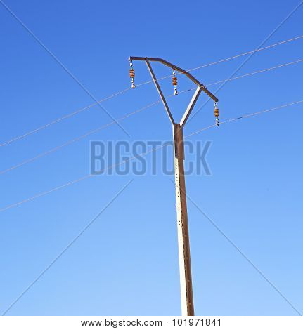 Utility Pole In Africa Morocco Energy And Distribution Pylon