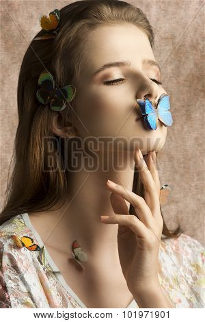 Lovely Girl With Butterfly