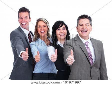 Happy business people with thumbs isolated white background.