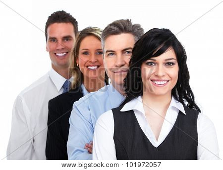 Group of young smiling business people isolated white background.