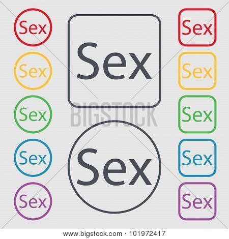 Safe Love Sign Icon. Safe Sex Symbol. Symbols On The Round And Square Buttons With Frame. Vector