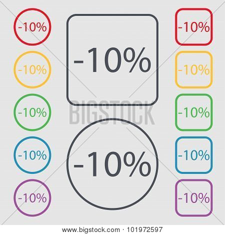 10 Percent Discount Sign Icon. Sale Symbol. Special Offer Label. Symbols On The Round And Square But
