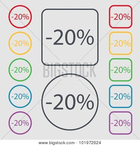 20 Percent Discount Sign Icon. Sale Symbol. Special Offer Label. Symbols On The Round And Square But