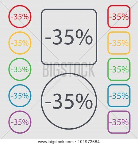 35 Percent Discount Sign Icon. Sale Symbol. Special Offer Label. Symbols On The Round And Square But