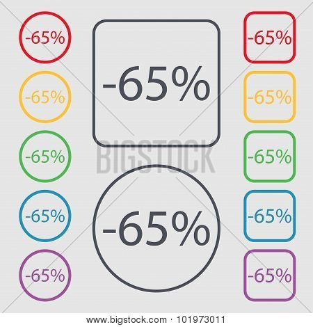 65 Percent Discount Sign Icon. Sale Symbol. Special Offer Label. Symbols On The Round And Square But