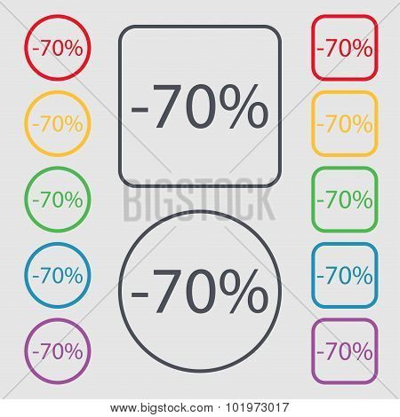 70 Percent Discount Sign Icon. Sale Symbol. Special Offer Label. Symbols On The Round And Square But
