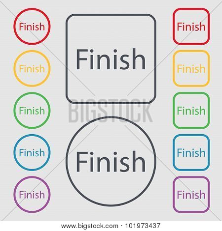 Finish Sign Icon. Power Button. Symbols On The Round And Square Buttons With Frame. Vector