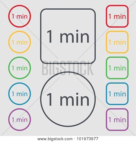 One Minutes Sign Icon. Symbols On The Round And Square Buttons With Frame. Vector
