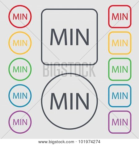 Minimum Sign Icon. Symbols On The Round And Square Buttons With Frame. Vector
