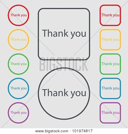 Thank You Sign Icon. Gratitude Symbol. Symbols On The Round And Square Buttons With Frame. Vector