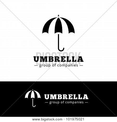 Vector minimalistic black umbrella logo. Simple logotype