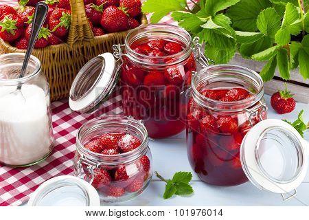 Homemade Preserves, Prepare Compote Of Strawberries.