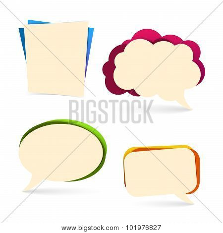 Set of bubbles for spoken presentations, commerce promotion. Colourful, with a shadow. Vector. Place