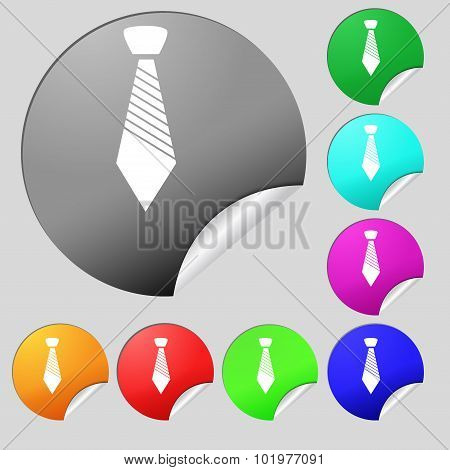 Tie Sign Icon. Business Clothes Symbol. Set Of Eight Multi Colored Round Buttons, Stickers. Vector