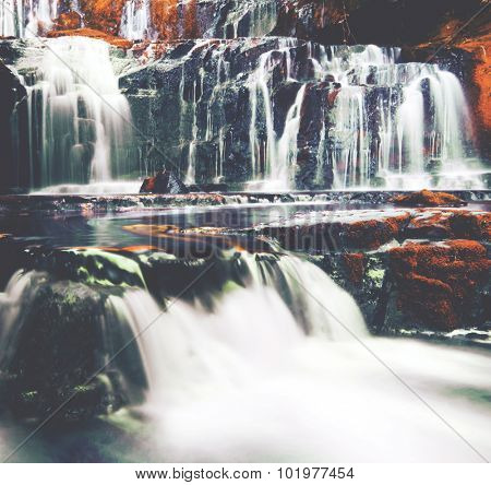 Cascading Waterfall New Zealand Atmosphere Concept