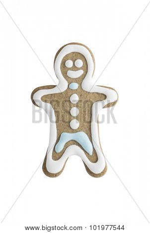 Gingerbread cookie man isolated on white background - shot in studio