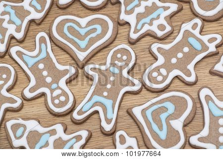 Variety of gingerbread cookies fresh from the oven