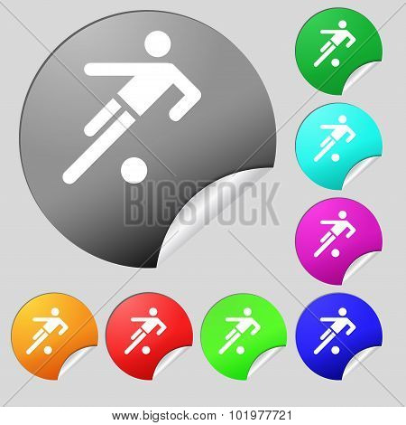 Football Player Icon. Set Of Eight Multi Colored Round Buttons, Stickers. Vector