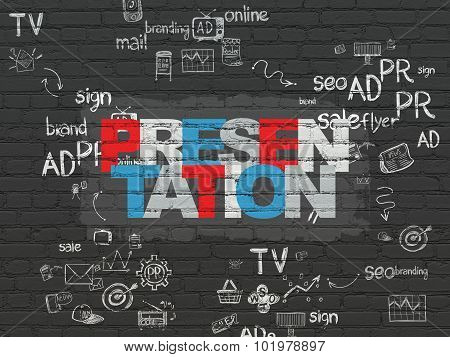 Advertising concept: Presentation on wall background