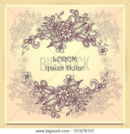 Border frame with doodle flowers beige  brown pink