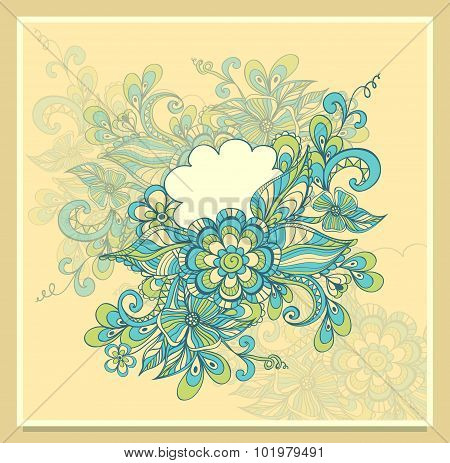 Doodle Doodle flowers frame with cloud in blue green beige
