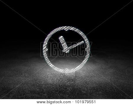 Time concept: Clock in grunge dark room