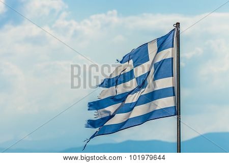 Tattered Greece Flag
