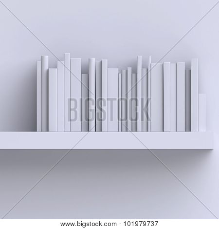 Shelf On The Wall With Books Or Magazines.
