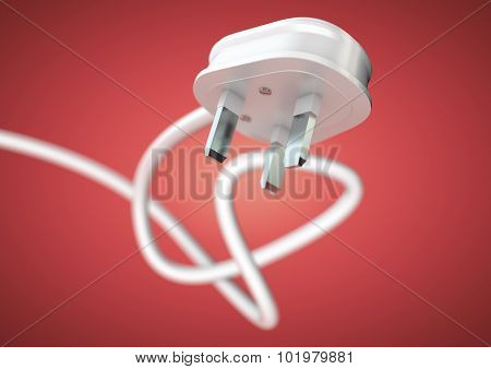 Electrical Appliance Plug Attached To Electricity Cable. Strong Depth Of Field.
