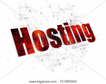 Web development concept: Hosting on Digital background