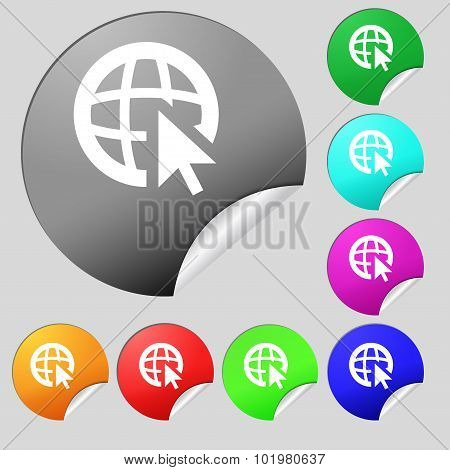 Internet Sign Icon. World Wide Web Symbol. Cursor Pointer. Set Of Eight Multi Colored Round Buttons,