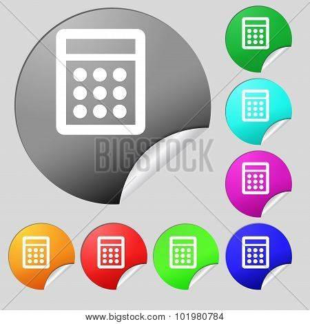 Calculator Sign Icon. Bookkeeping Symbol. Set Of Eight Multi Colored Round Buttons, Stickers. Vector
