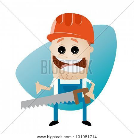 funny cartoon construction worker with saw