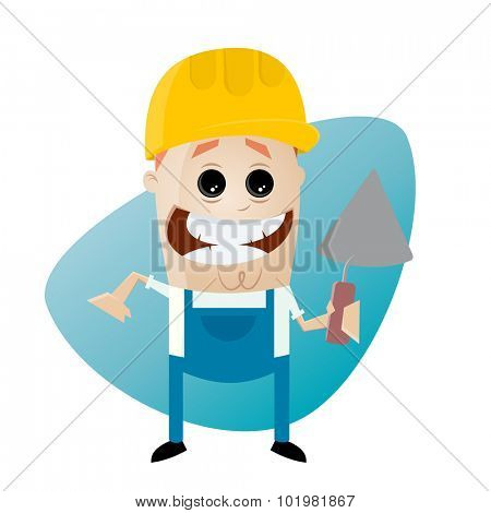 funny cartoon construction worker with trowel