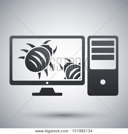 Workstation Is Infected By Malware, Vector Illustration