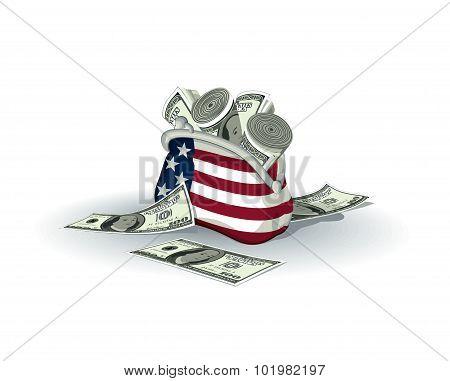 American wallet full of dollars