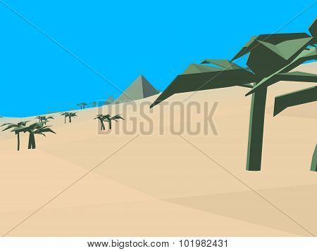 Low Poly Retro Style Desert