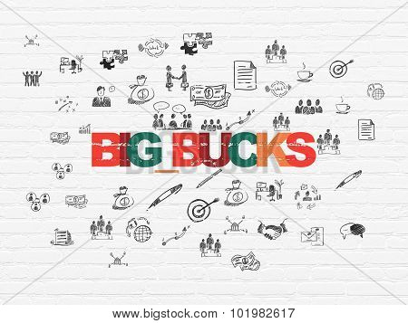 Business concept: Big bucks on wall background