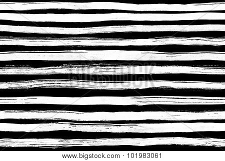 Black White ink abstract horizontal stripes  seamless  background. Hand drawn lines. Ink illustratio