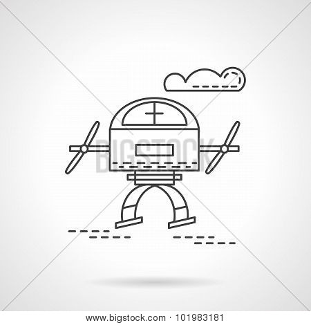 Unmanned drone flat line vector icon
