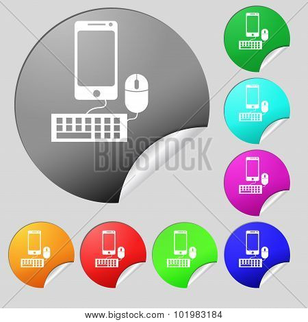 Smartphone Widescreen Monitor, Keyboard, Mouse Sign Icon. Set Of Eight Multi Colored Round Buttons,