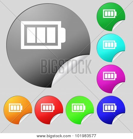 Battery Fully Charged Sign Icon. Electricity Symbol. Set Of Eight Multi Colored Round Buttons, Stick
